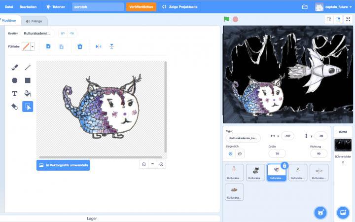 Zu sehen ist der Screenshot des Programmes SCRATCH auf dem ein kleines Kind einen Katzenfisch gemalt hat.