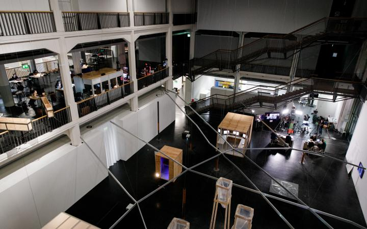 View from above down into the atrium of the Critical Zones Observatory.