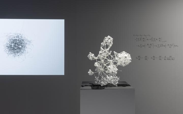 """Three-dimensional sculpture of the """"Flavor Network"""" in white. On the wall in the background is a mathematical algorithm formula."""