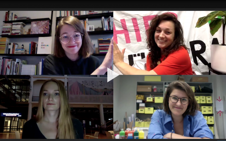 A screenshot of four people in a Zoom meeting.