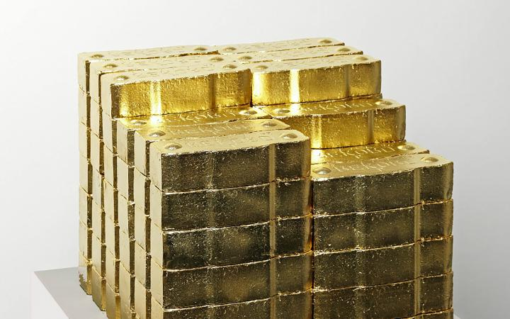 Photo of a pile of gold bars