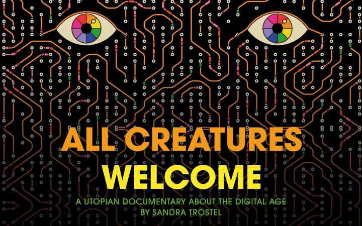 Das Filmplakat zeigt stilisierte Augen, die sich aus elektronischen Leitungen erheben