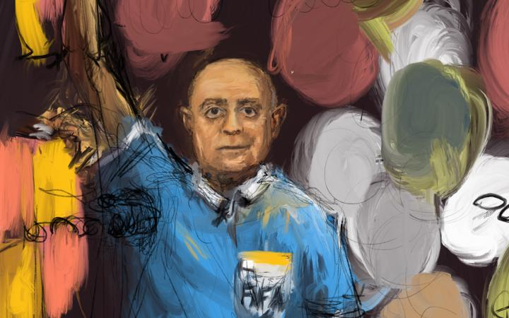 Painting of a bald man with a blue T-shirt on against a black background.