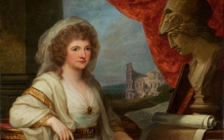 Zu sehen ist ein Gemälde auf dem eine Frau sitzt mit einem Buch in der Hand und einer Büste neben ihr.