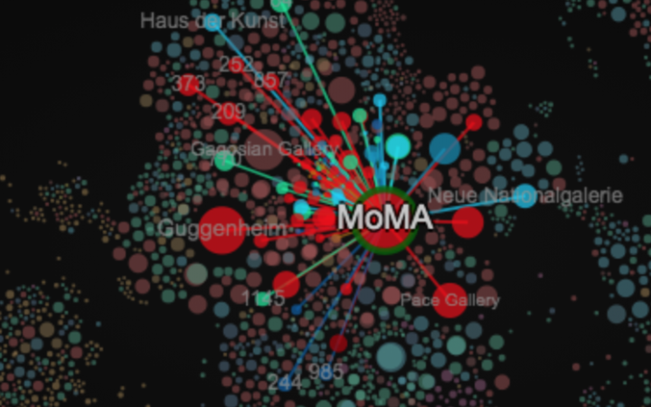 """Detail of the """"Art Network"""" with coloured dots representing art facilities connected by lines."""