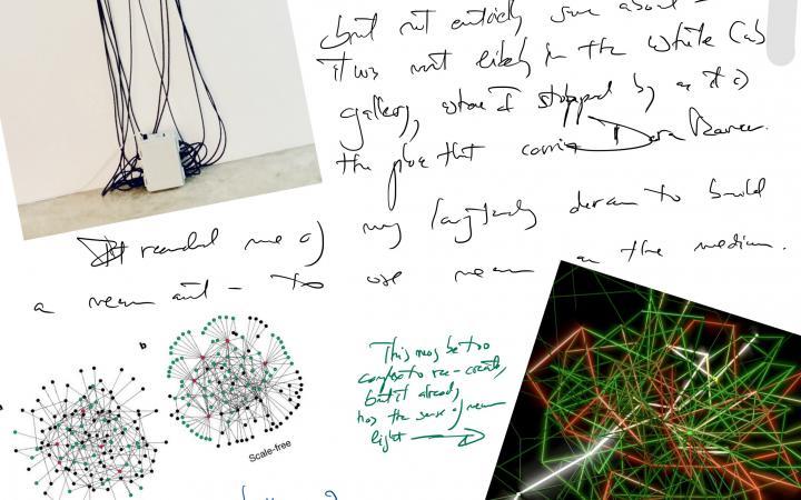 Sketche, Notizen, Collagen und Fotos der Werke von Albert-László Barabási
