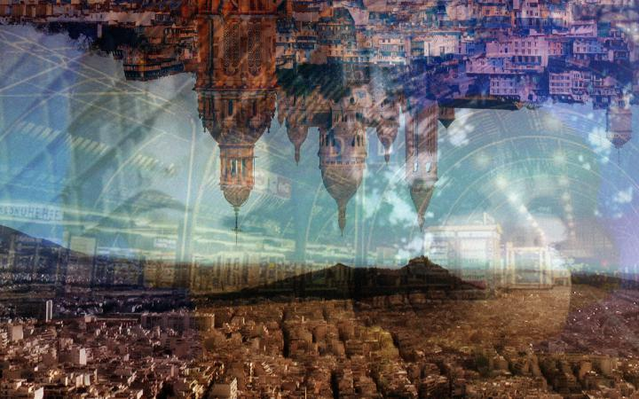 Graphic with a forest landscape and a silhouette of a city upside down.
