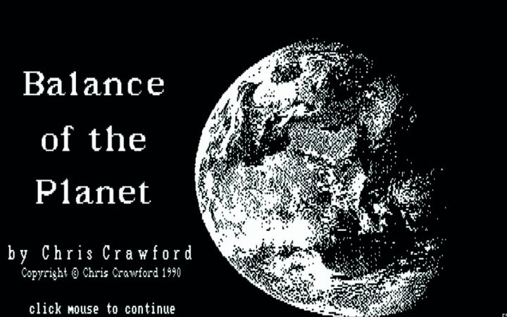 Start screen of the computer game »Balance of the Planet« by Chris Crawford, 1990.