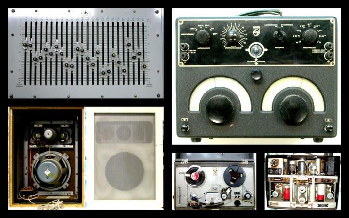Bildcollage aus audiotechnischen Gegenständen