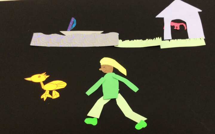 Still of an animation workshop in which a person is running after a little yellow duck.