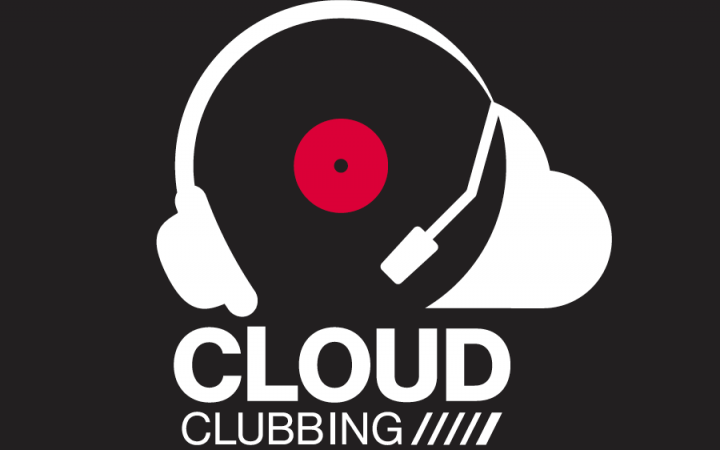 Logo »Cloud Clubbing« – headset and cloud