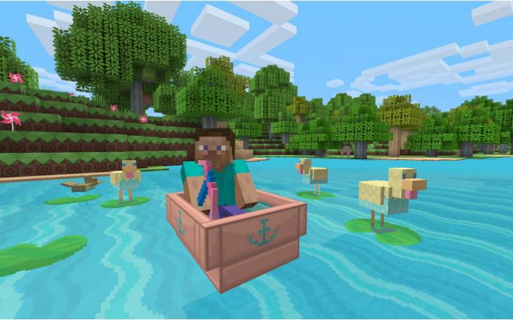 Eine Figur aus wenigen Pixeln sitzt in einem Boot und steuert über einen See