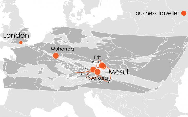 Graue Landkarte mit orangenen Punkten