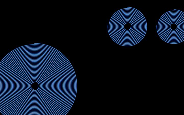 Blaue Kreise auf schwarzem Hintergrund