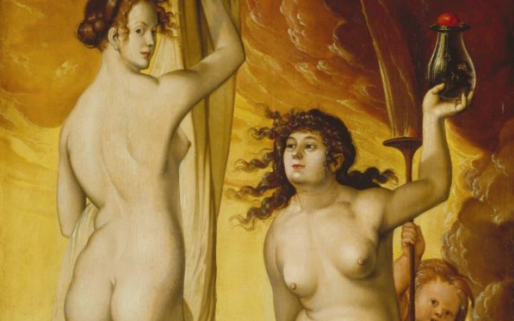 Zu sehen sind »Die Wetterhexen« von Hans Baldung Grien. Links sieht man den Rücken und das Halbprofil einer nackten Frau, rechts sitzt eine nackte Frau und hält ein Gefäß in der Hand.