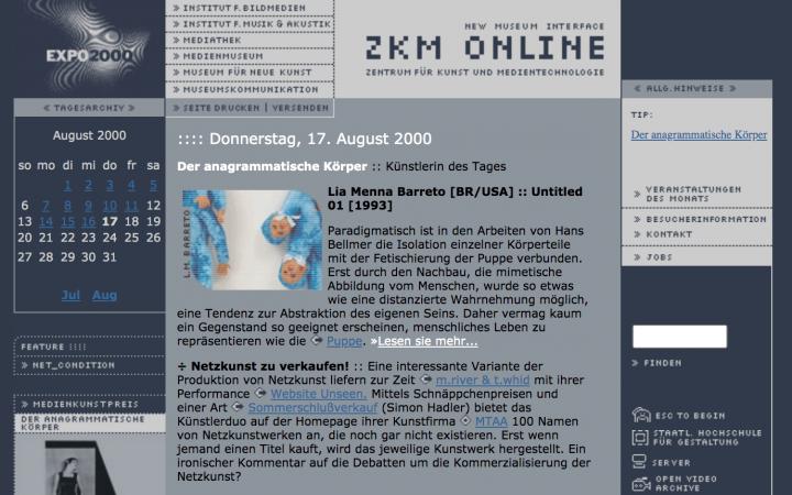 Screenshot der ZKM Website aus dem Jahr 2000.