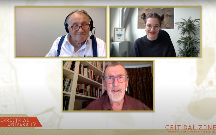 A screenshot of a zoom interview with Peter Weibel, Barbara Kiolbassa and Bruno Latour in the context of the »Terrestrial University« at ZKM Karlsruhe