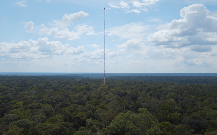 You can see a very high tower made of a steel frame that rises from the Amazon.