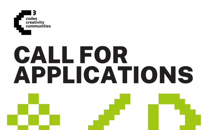 C3: Codes, Creativity, Communities – eine grün-weiße textbasierte Grafik des Open Calls