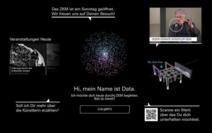 Collage mit Beispielen unterschiedlicher Funktionen des Chatbots