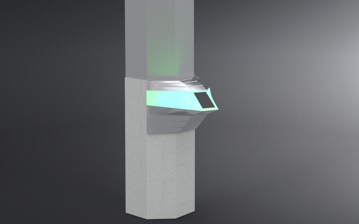 Konstruktionszeichnung der Chatbot-Unit: Silber mit türkis leuchtender Einheit.