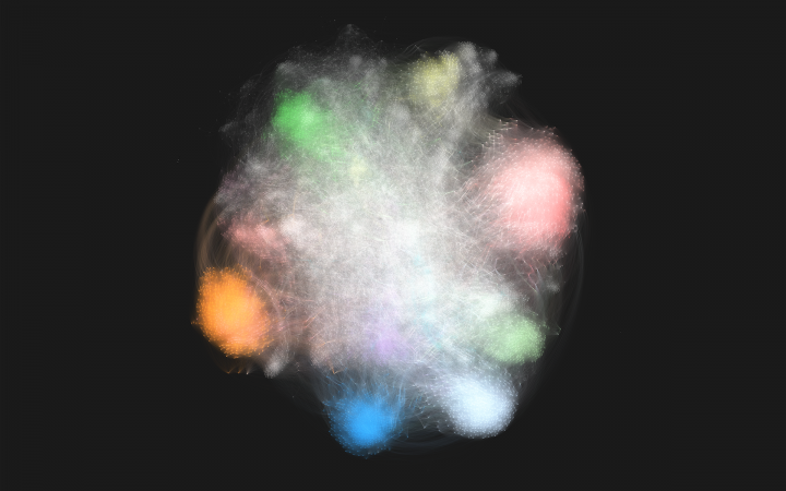 Network display that looks like a glowing fog, white in the middle with coloured round spots at the edge