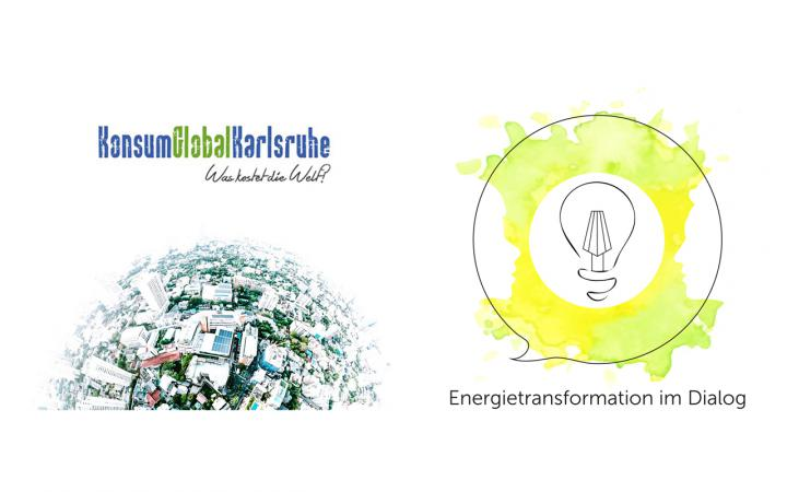 Logo Projekt Energietransformation im Dialog and KonsumGlobalKarlsruhe