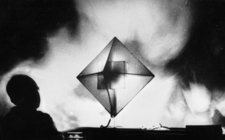 Black and white picture of an enlightened cube