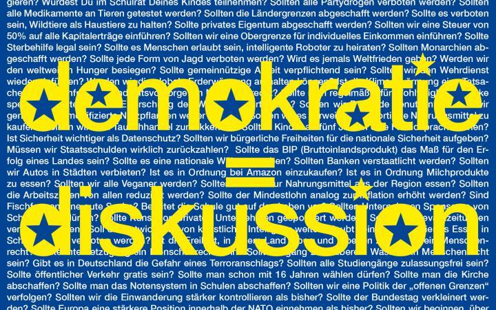 Eine blaue Grafik mit dem Text »Demokratie = Diskussion« in Gelb.