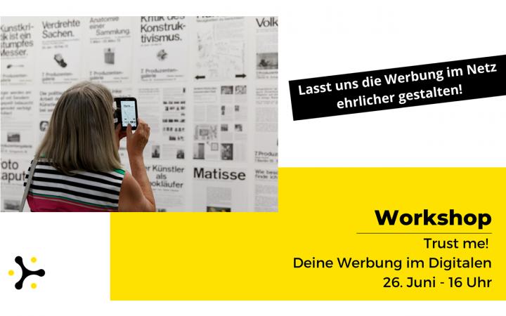Titel des Workshops auf gelbem Grund, Digilog-Logo und Foto einer Person, die Plakate an einer Wand fotografiert.