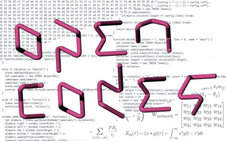 Der Schriftzug »Open Codes«in magenta vor einem Hintergrund aus Code