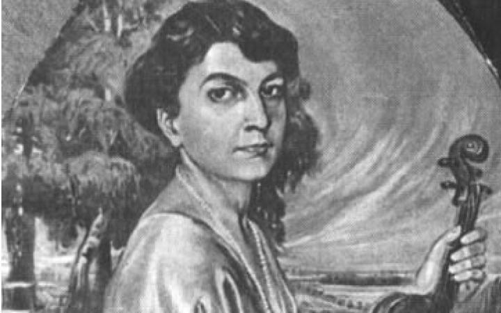 Zu sehen ist die Zeichnung einer jungen Frau.