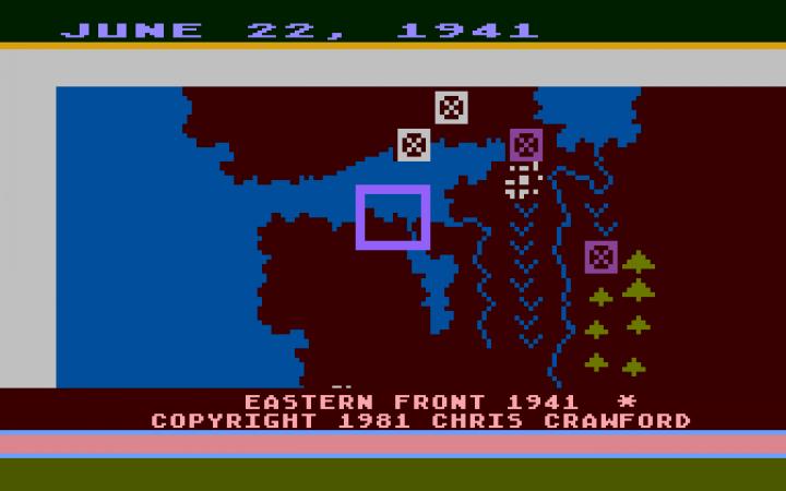 Screenshot des Spiels »Eastern Front (1941)« von Chris Crawford,1981.