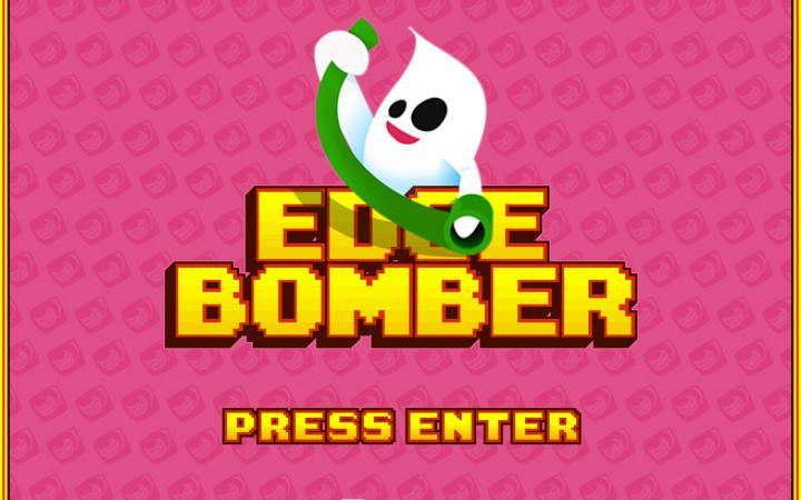 """A ghost holds a green paper roll, below that it says """"Edgebomber"""""""