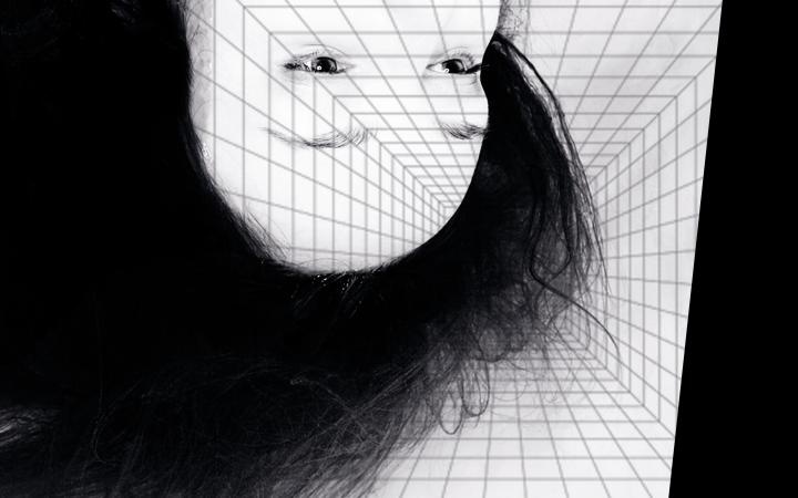 The head and neck of a woman can be seen upside down, she has long hair and an expressionless lead. The background resembles computer-generated tiles, which also cover her face.