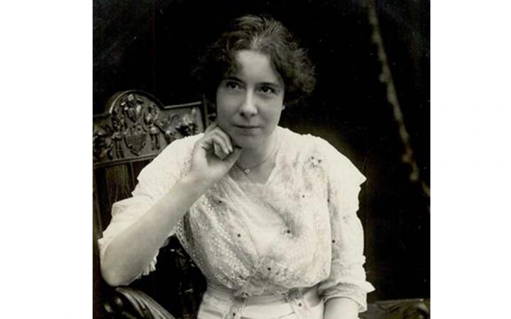 The composer Clara Faisst, 1912, in a black and white photograph