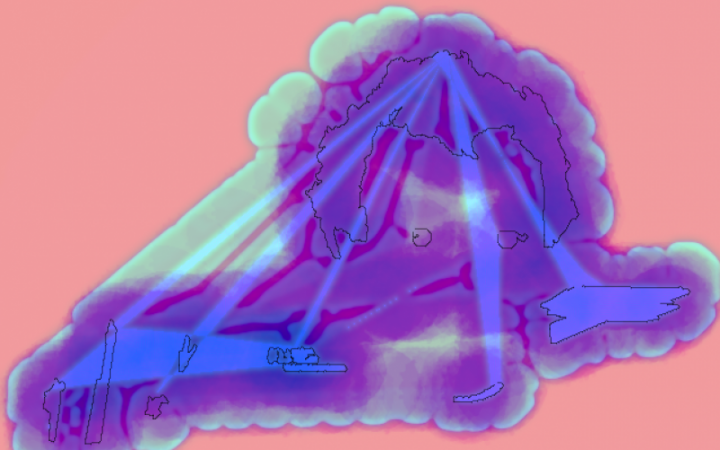 You can see a graphic with a pink background. On this background there is a mint coloured cloud. In this a dark blue/purple shadow spreads. A head shape can be recognized.