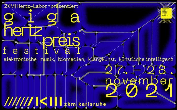Zu sehen ist ein blau-schwarzes Plakat des Giga-Hertz-Preises mit grauen Linien und gelber Schrift darauf.