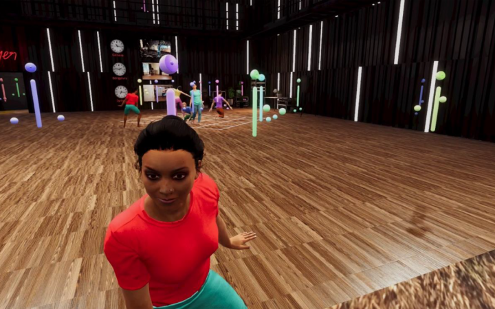 A virtual dance floor, virtual people dancing in the background, a virtual woman in a red t-shirt sitting in the foreground