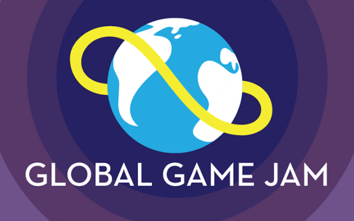 Colorful graphics showing a globe and the text »Global Game Jam«.