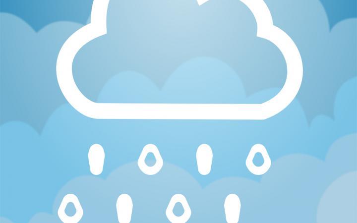 Eine Wolke, aus der Einsen und nullen regnen