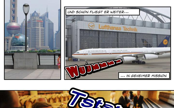 In this picture there are photographs combined to a comic-strip with text bubbles.