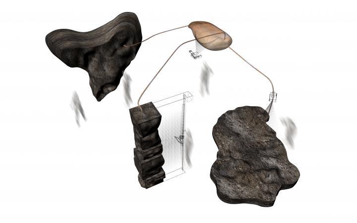 Eine technische Skizze des Swamp Observatory der Künstler. Man sieht eine kleine Fläche, die mit drei großen dunklen Klumpen-Flächen umringt durch je einen Strich verbunden ist.