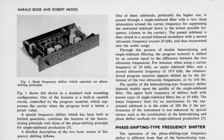 Harald Bode und Robert Moog: »A High-Accuracy Frequency Shifter for Professinal audio Applications [Ein hochpräziser Klangumwandler für professionelle Audioanwendungen]« (1972)