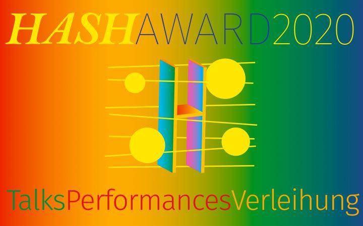 Plakat des HASH Award 2020 am ZKM Karlsruhe. Eine gelb-grüne Grafik aus geometrischen Elementen.