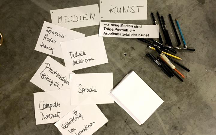 Auf verschiedenen Zetteln stehen handgeschrieben unterschiedliche Begriffe im Rahmen der Veranstaltung »Art im Puls«.