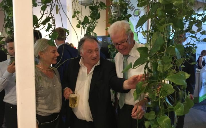 Christiane Riedel, Peter Weibel und Winfried Kretschmann