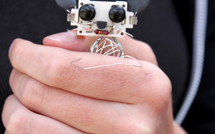 Eine Hand hält eine Maus aus Elektrobauteilen im Rahmen einer Veranstaltung der Kulturakademie.