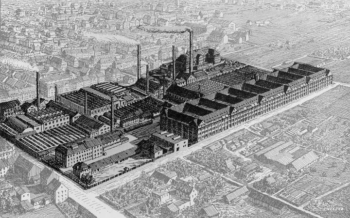 Skizze aus Luftaufnahme des Hallenbaus der Berlin-Karlsruher-Industrie-Werke Aktiengesellschaft, vormals Deutsche Waffen- und Munitionsfabriken AG