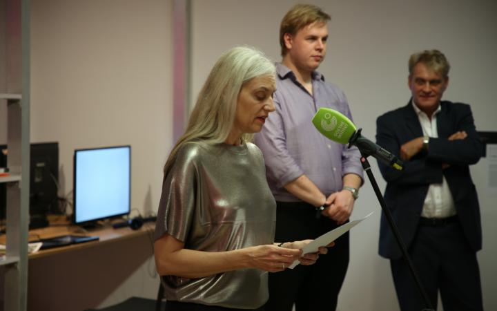 Christiane Riedel, Chief Operating Officer of ZKM, speaks at the opening